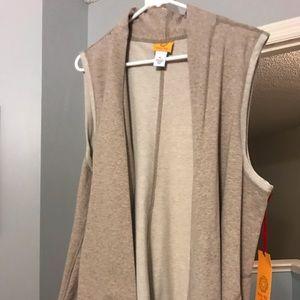 Tan terry open vest
